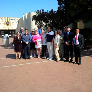 Photo of Laura Sharp and her courtroom supporters