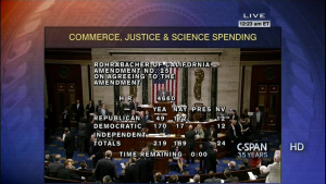 Screen shot of final House vote to de-fund DOJ's DEA attacks against medical cannabis